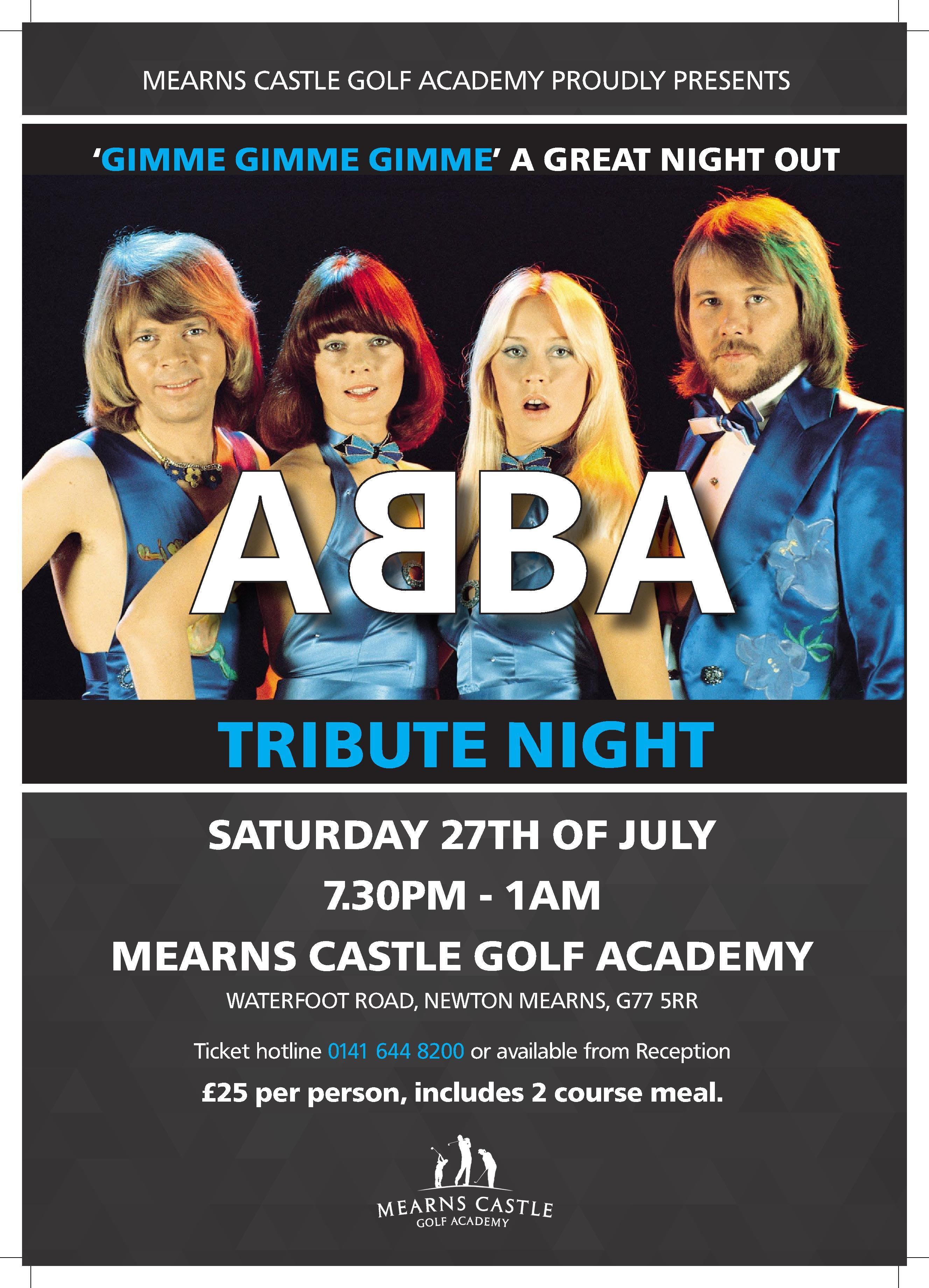 ABBA Tribute Night – Saturday the 27th July