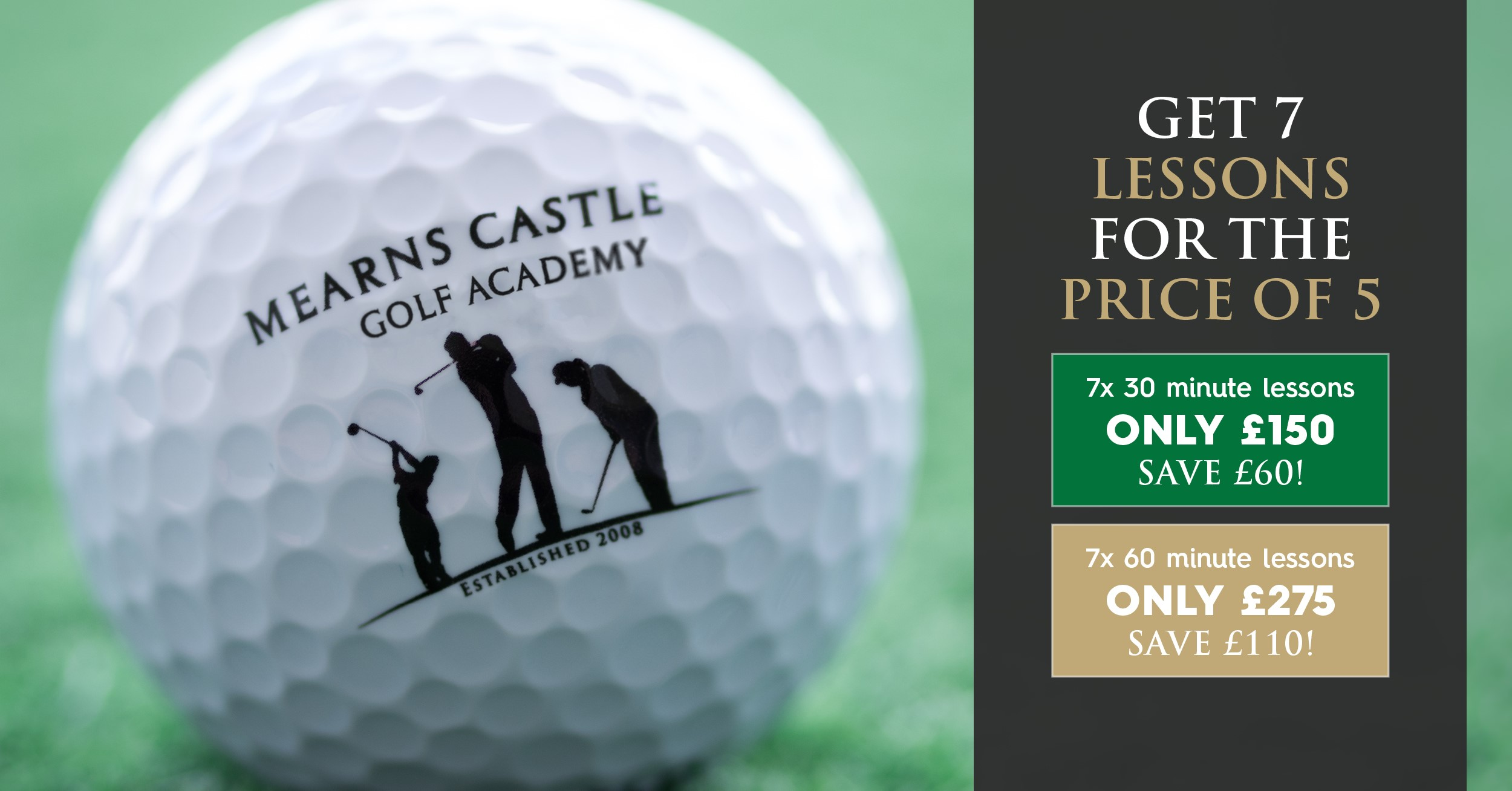 7 for 5 on all golf lessons